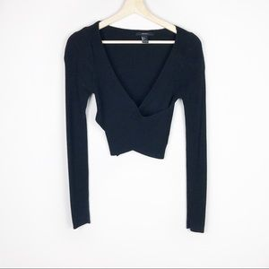 Black Cropped Wrap Long Sleeve L